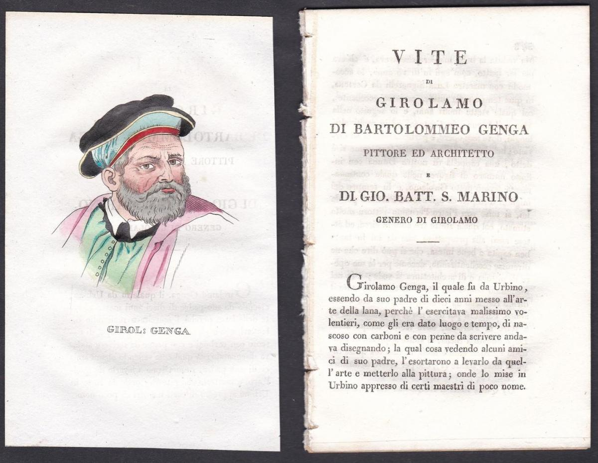 Girol: Genga - Girolamo Genga Maler painter Italien Italia Portrait Kupferstich copper engraving antique print