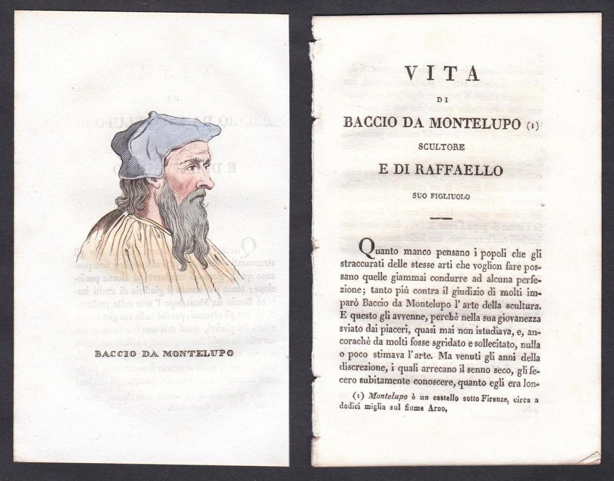 Baccio da Montelupo - Baccio da Montelupo Bildhauer sculptor Italien Italia Portrait Kupferstich copper engrav