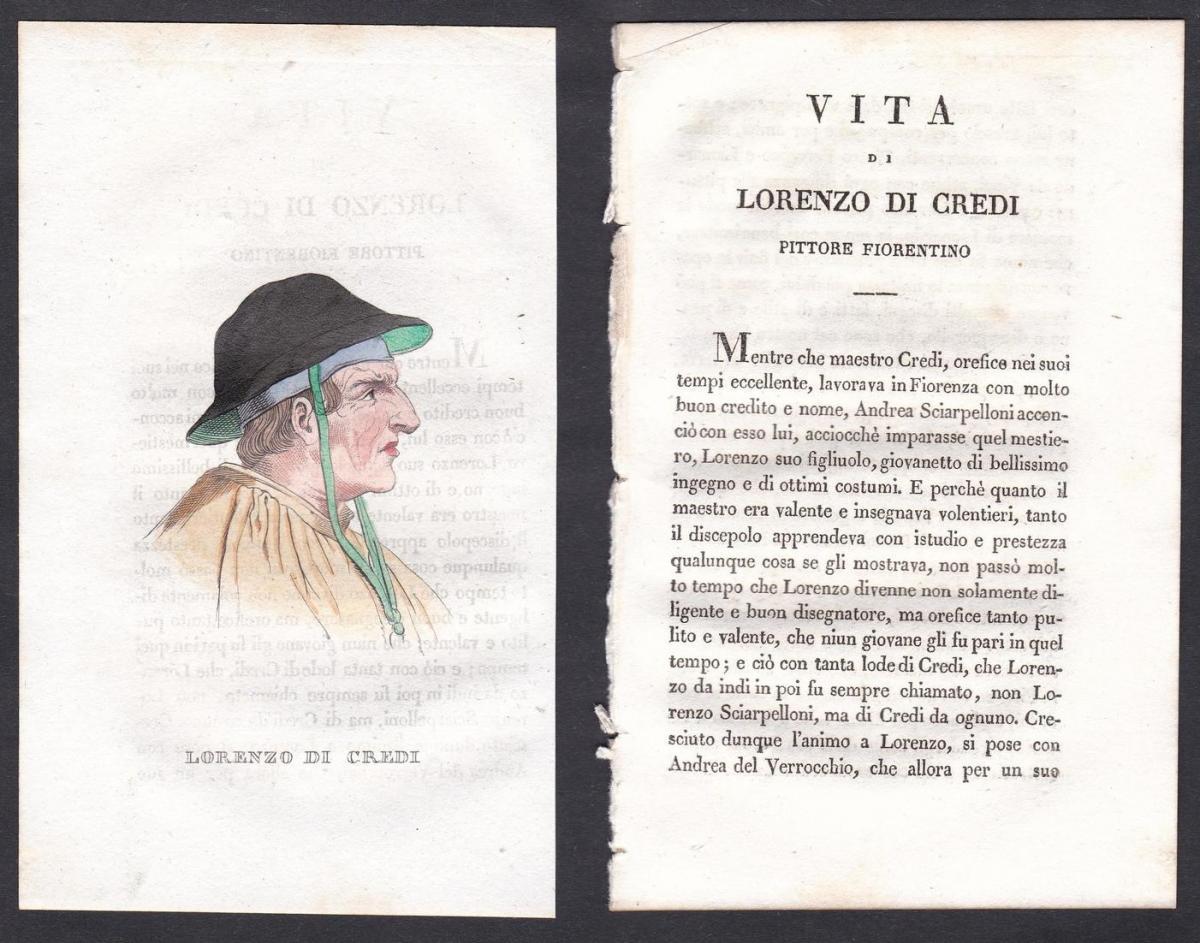 Lorenzo di Credi - Lorenzo di Credi Maler painter Italien Italia Portrait Kupferstich copper engraving antique
