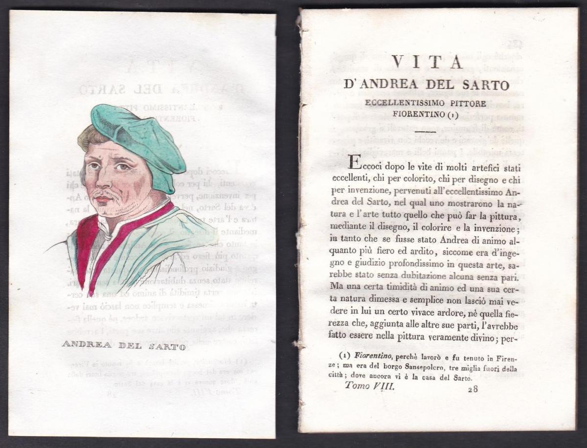 Andrea del Sarto - Andrea del Sarto Maler painter Italien Italia Portrait Kupferstich copper engraving antique