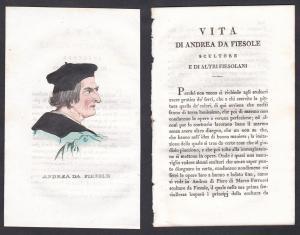 Andrea da Fiesole - Andrea Ferrucci Bildhauer sculptor Italien Italia Portrait Kupferstich copper engraving an