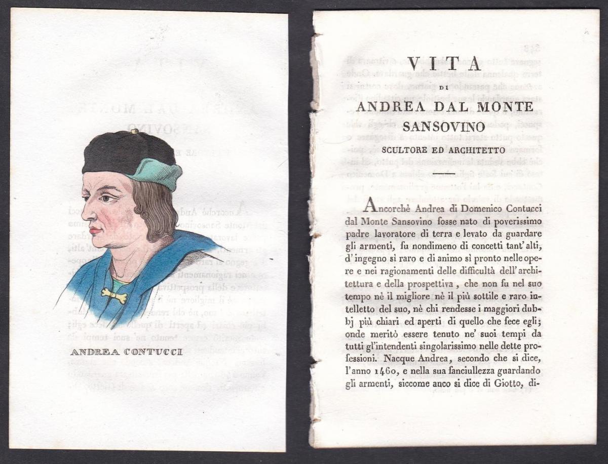 Andrea Contucci - Andrea Sansovino Bildhauer sculptor Italien Italia Portrait Kupferstich copper engraving ant