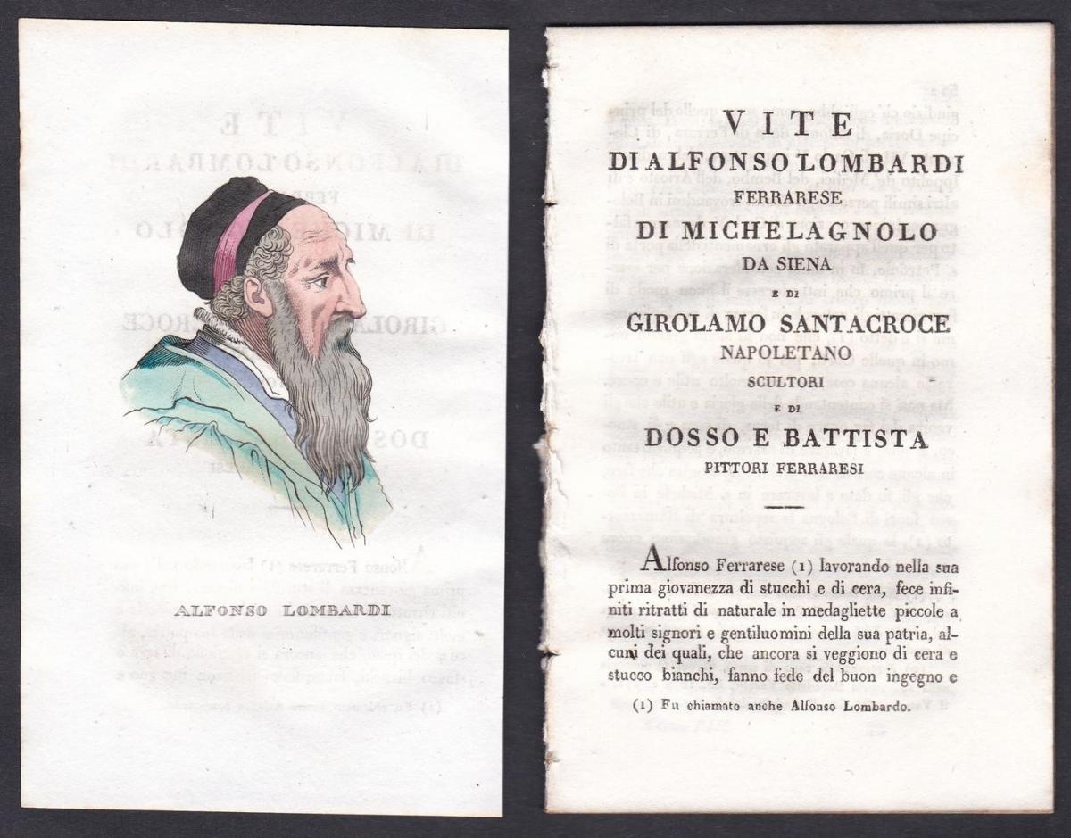 Alfonso Lombardi - Alfonso Lombardi Bildhauer sculptor Italien Italia Portrait Kupferstich copper engraving an