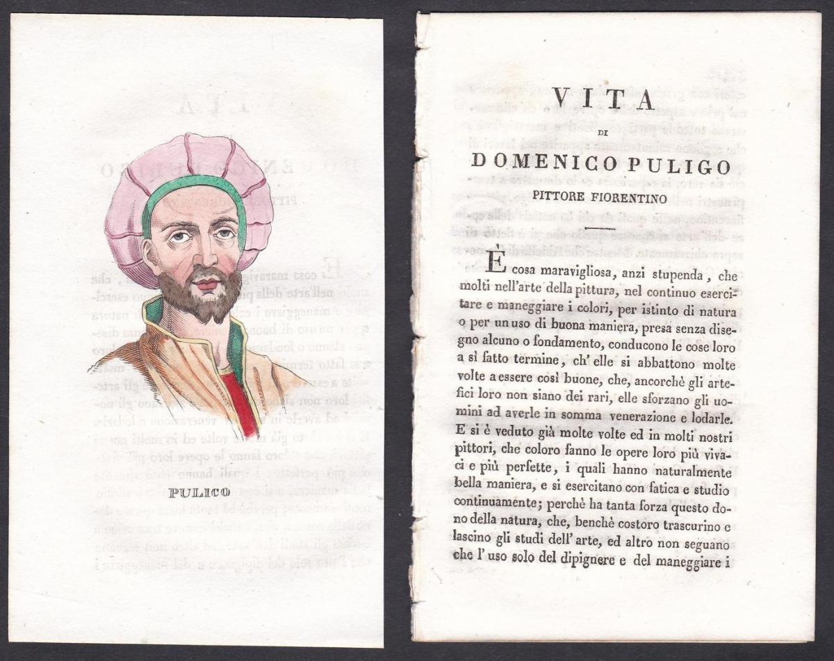 Pulico - Domenico Puligo Maler painter Italien Italia Portrait Kupferstich copper engraving antique print