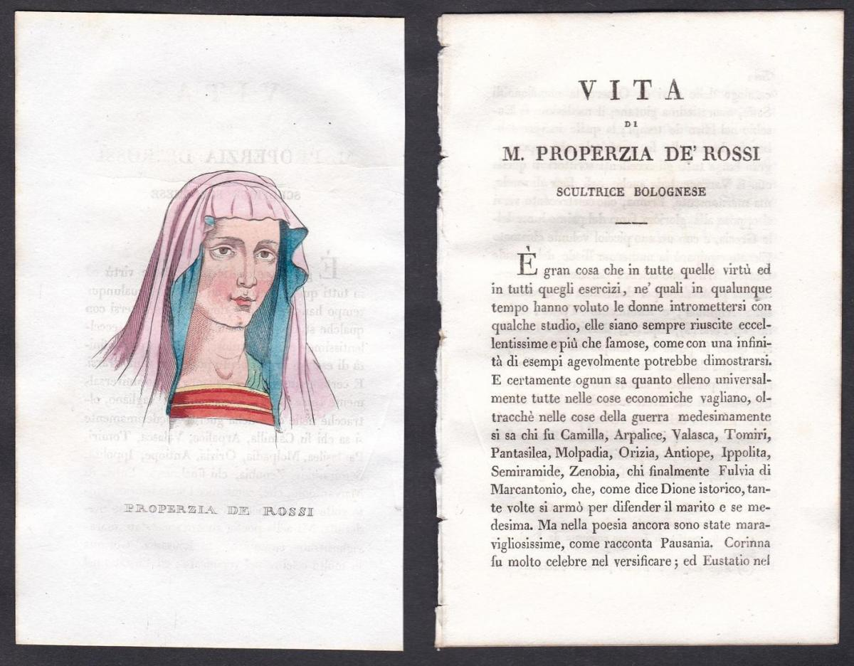 Properzia de Rossi - Properzia de' Rossi Bildhauerin sculptor Italien Italia Portrait Kupferstich copper engra