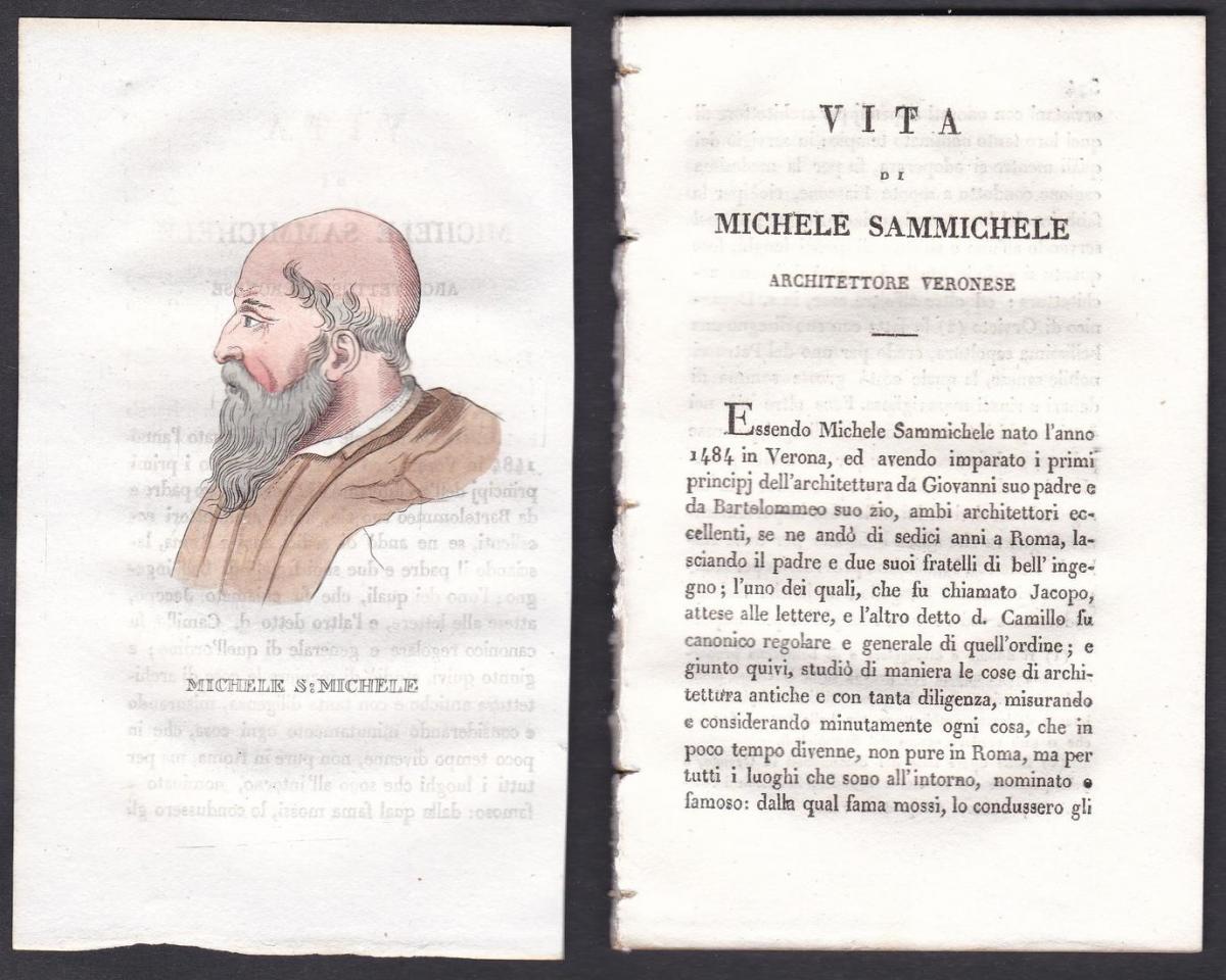 Michele S: Michele - Michele Sanmicheli Architekt architect Italien Italia Portrait Kupferstich copper engravi