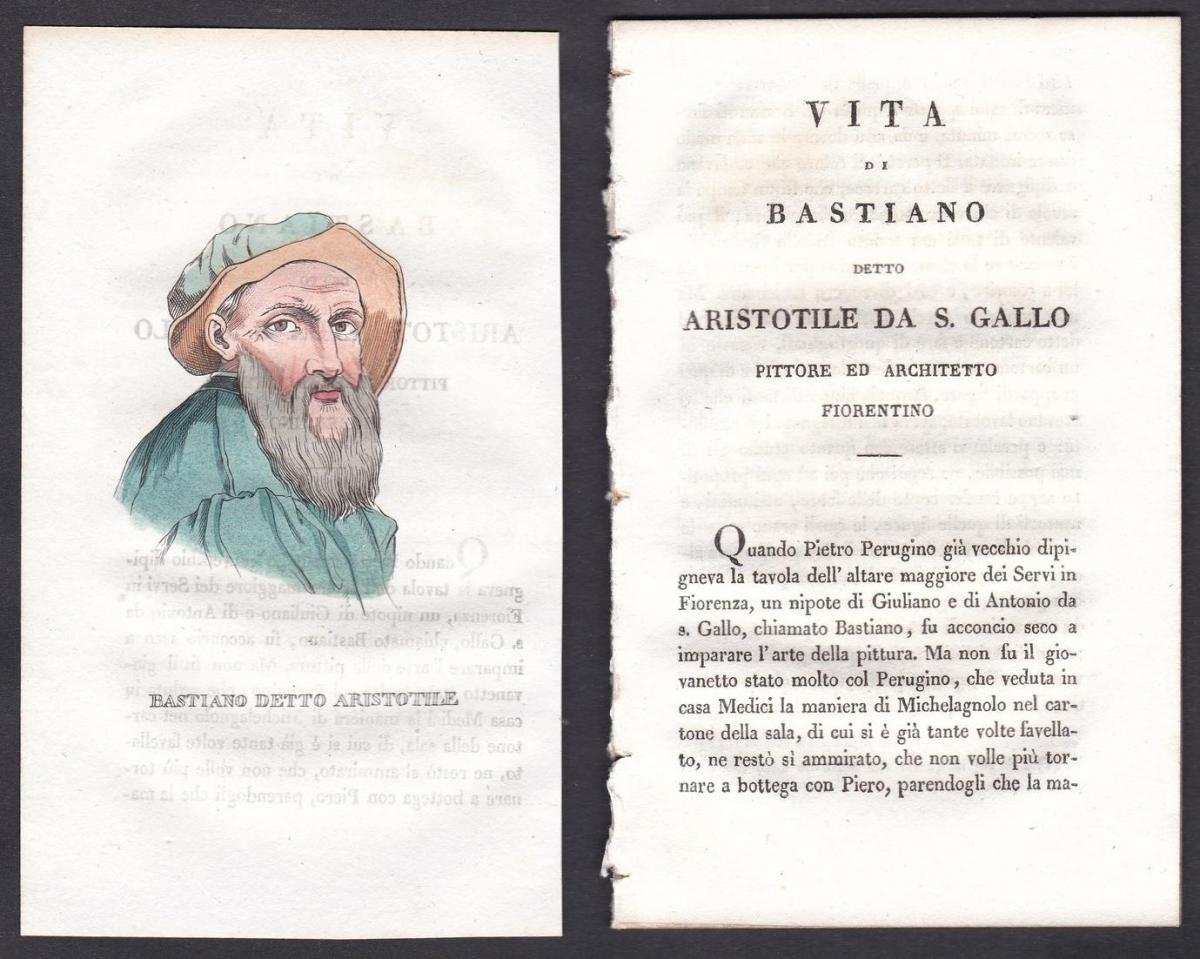 Bastiano Detto Aristotile -  Bastiano da Sangallo Maler painter Italien Italia Portrait Kupferstich copper eng