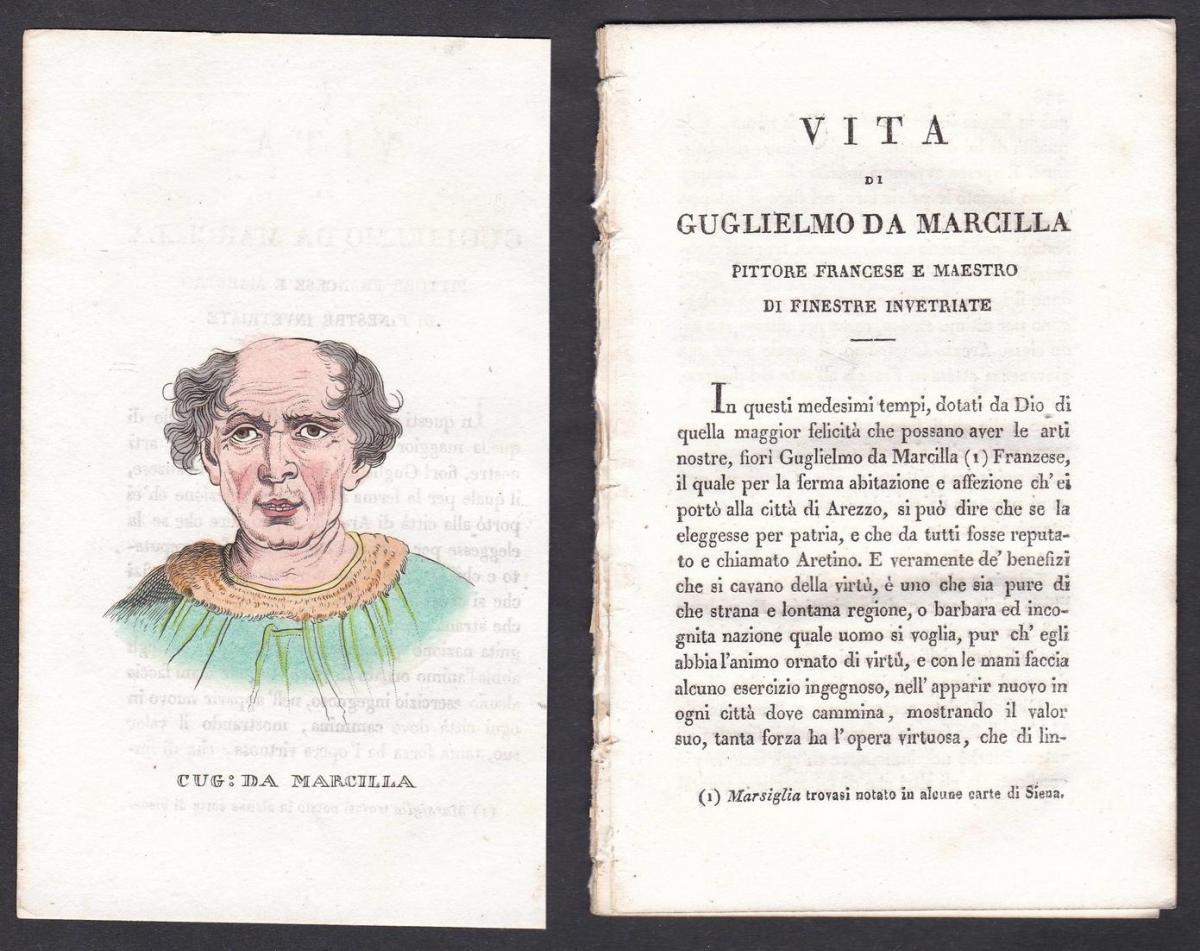 Cug: da Marcilla - Guglielmo de Marcillat Maler painter Italien Italia Portrait Kupferstich copper engraving a
