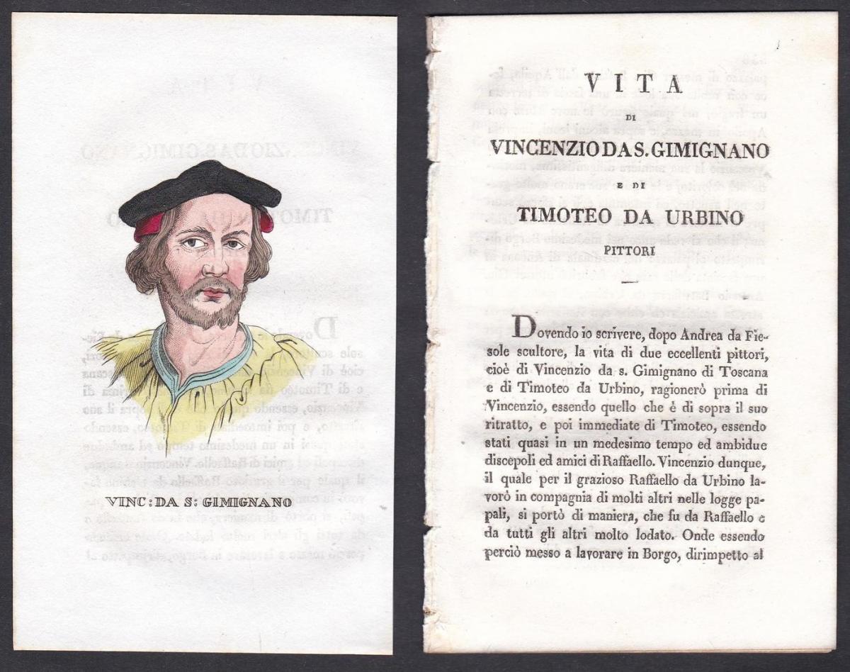 Vinc: da S: Gimignano - Vincenzo di Benedetto di Chele Tamagni Maler painter Italien Italia Portrait Kupfersti