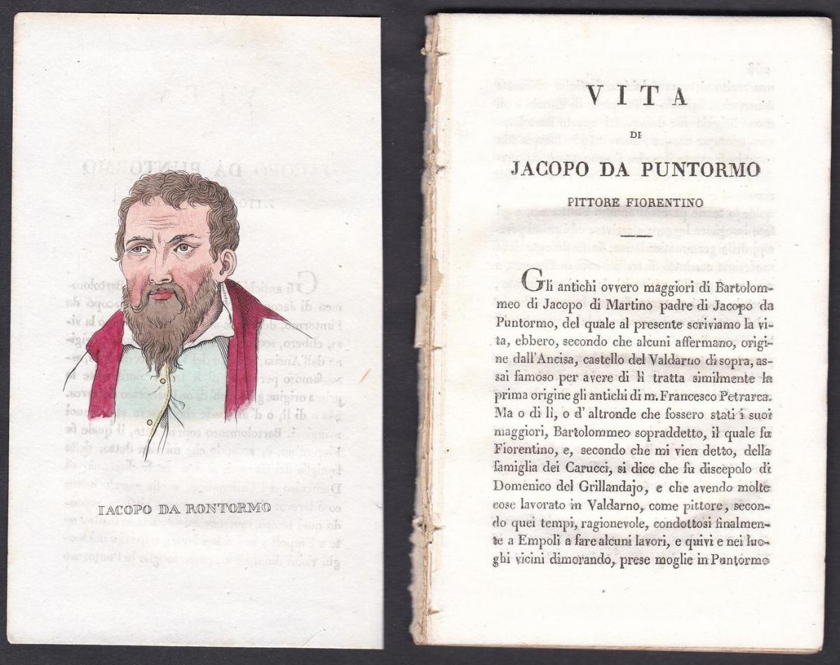 Iacopo da Rontormo - Jacopo da Pontormo Maler painter Italien Italia Portrait Kupferstich copper engraving ant