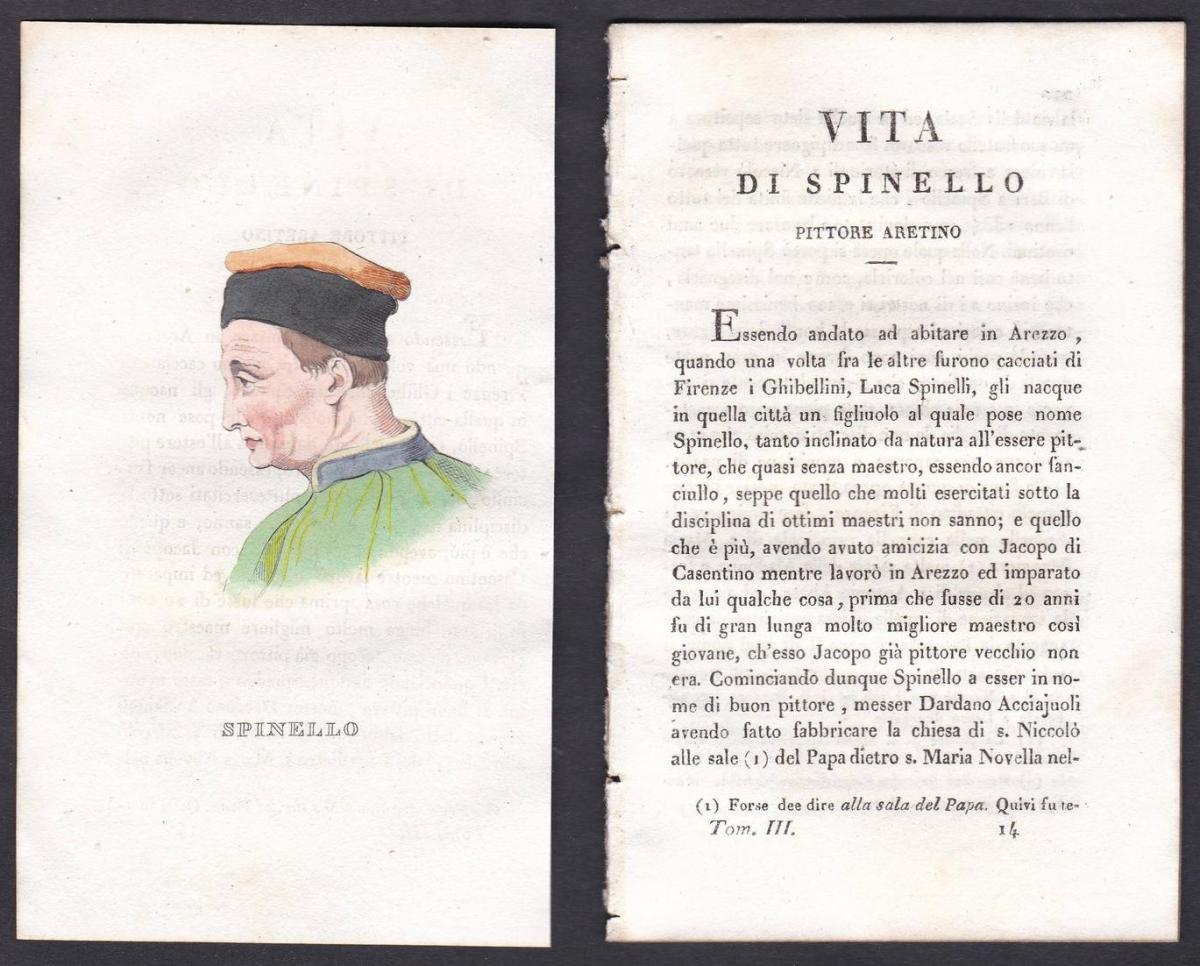 Spinello - Spinello Aretino (1350-1410) Maler painter Italien Italia Portrait Kupferstich copper engraving ant