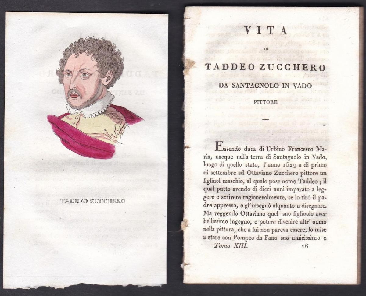 Taddeo Zucchero - Taddeo Zuccari (1529-1566) Maler painter Italien Italia Portrait Kupferstich copper engravin