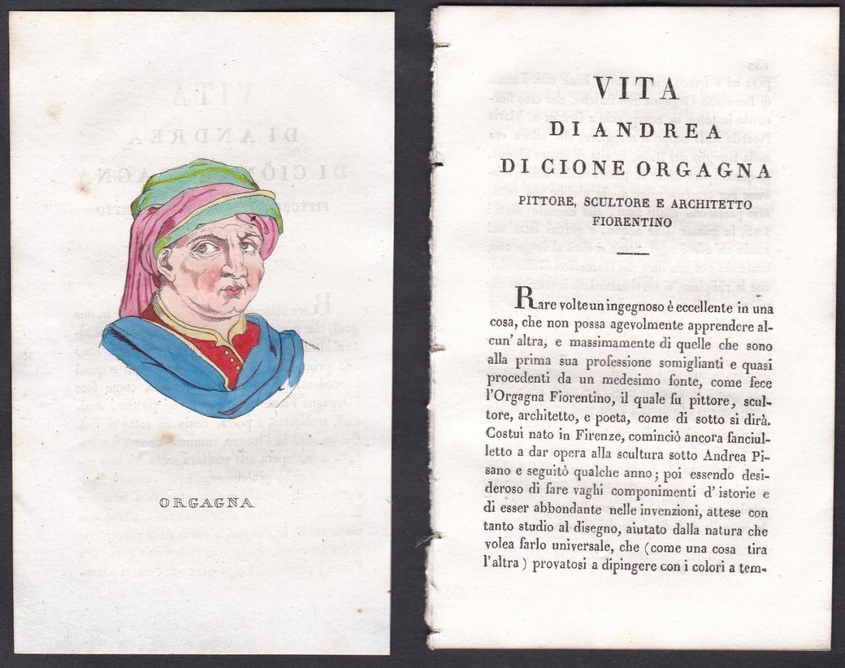 Orgagna - Andrea di Cione Orcagna (1308-1368) Maler painter Italien Italia Portrait Kupferstich copper engravi