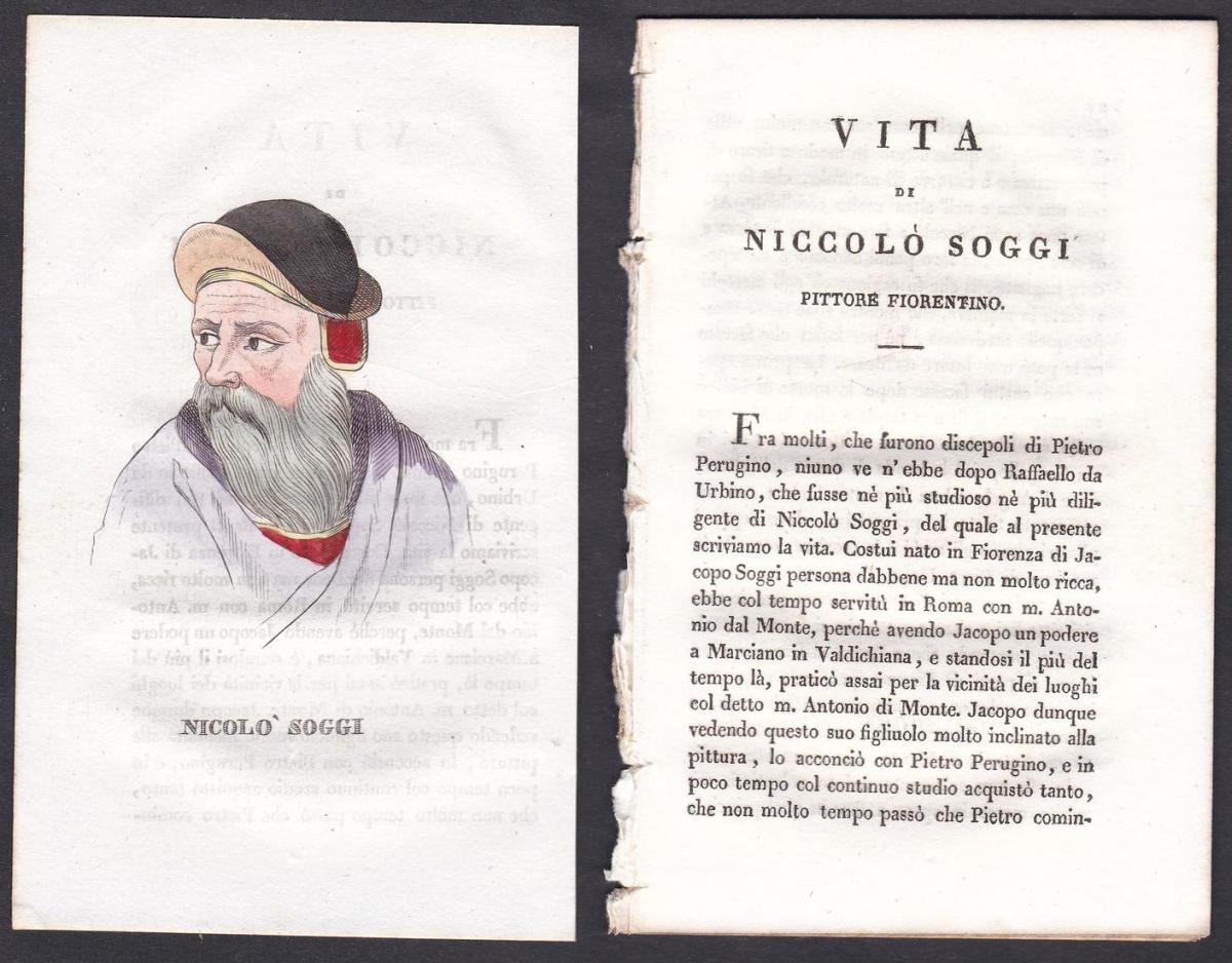 Nicolo Soggi - Niccolò Soggi (1480-1552) Maler painter Italien Italia Portrait Kupferstich copper engraving an