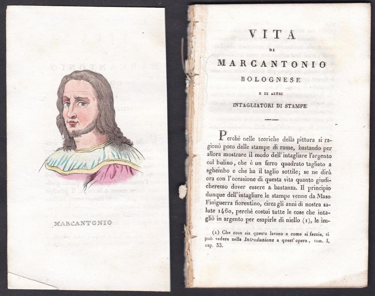 Marcantonio - Marcantonio Raimondi (1480-1534) Kupferstecher engraver Italien Italia Portrait Kupferstich copp
