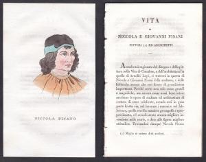 Niccola Pisano - Niccolò Pisano (1220-1284) Bildhauer sculptor Italien Italia Portrait Kupferstich copper engr