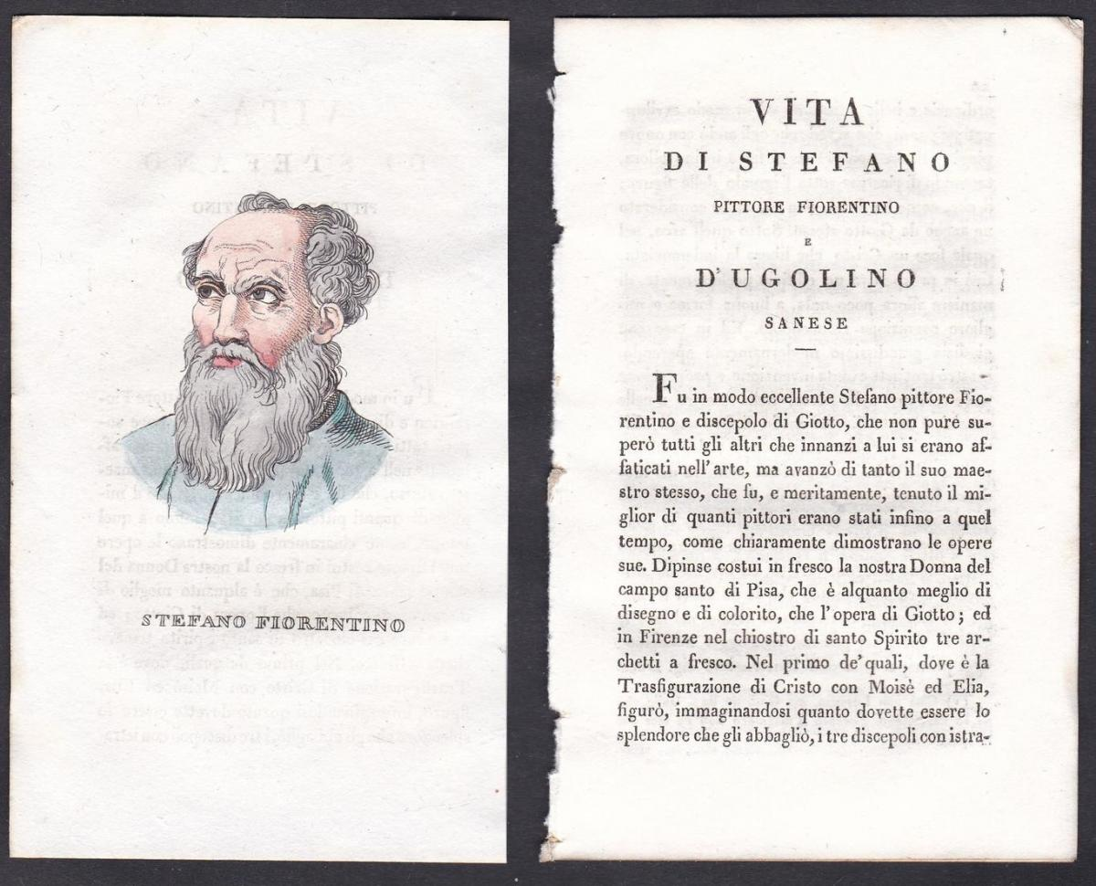 Stefano Fiorentino - Stefano Fiorentino (1301-1350) Maler painter Italien Italia Portrait Kupferstich copper e
