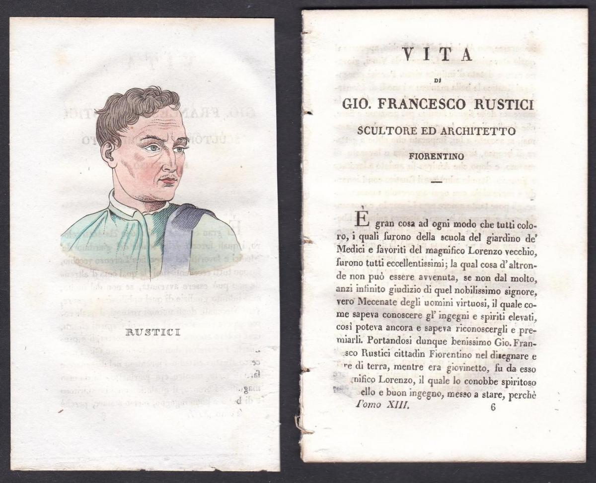 Rustici - Giovanni Francesco Rustici (1474-1554) Bildhauer sculptor Italien Italia Portrait Kupferstich copper