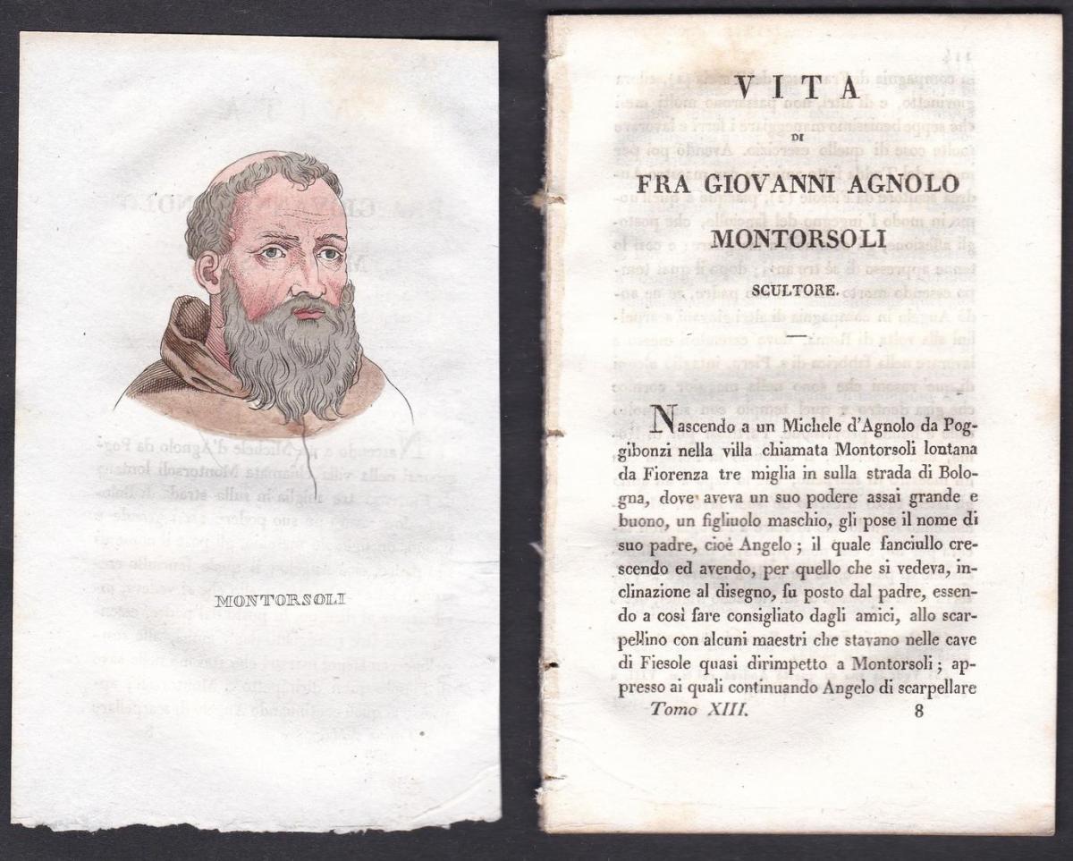 Montorsoli - Giovanni Angelo Montorsoli (1507-1563) Bildhauer sculptor Italien Italia Portrait Kupferstich cop