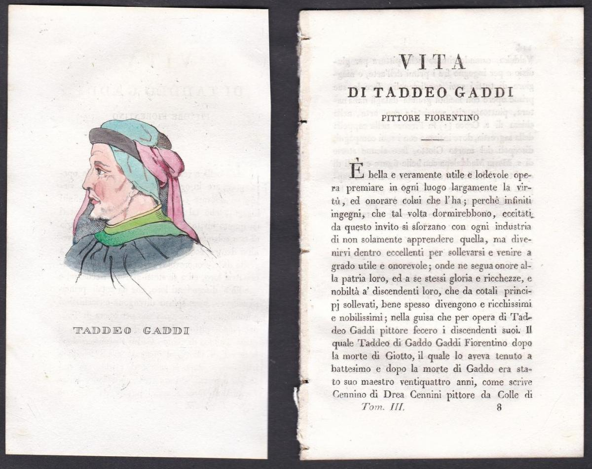 Taddeo Gaddi - Taddeo Gaddi (1290-1366) Maler painter Italien Italia Portrait Kupferstich copper engraving ant