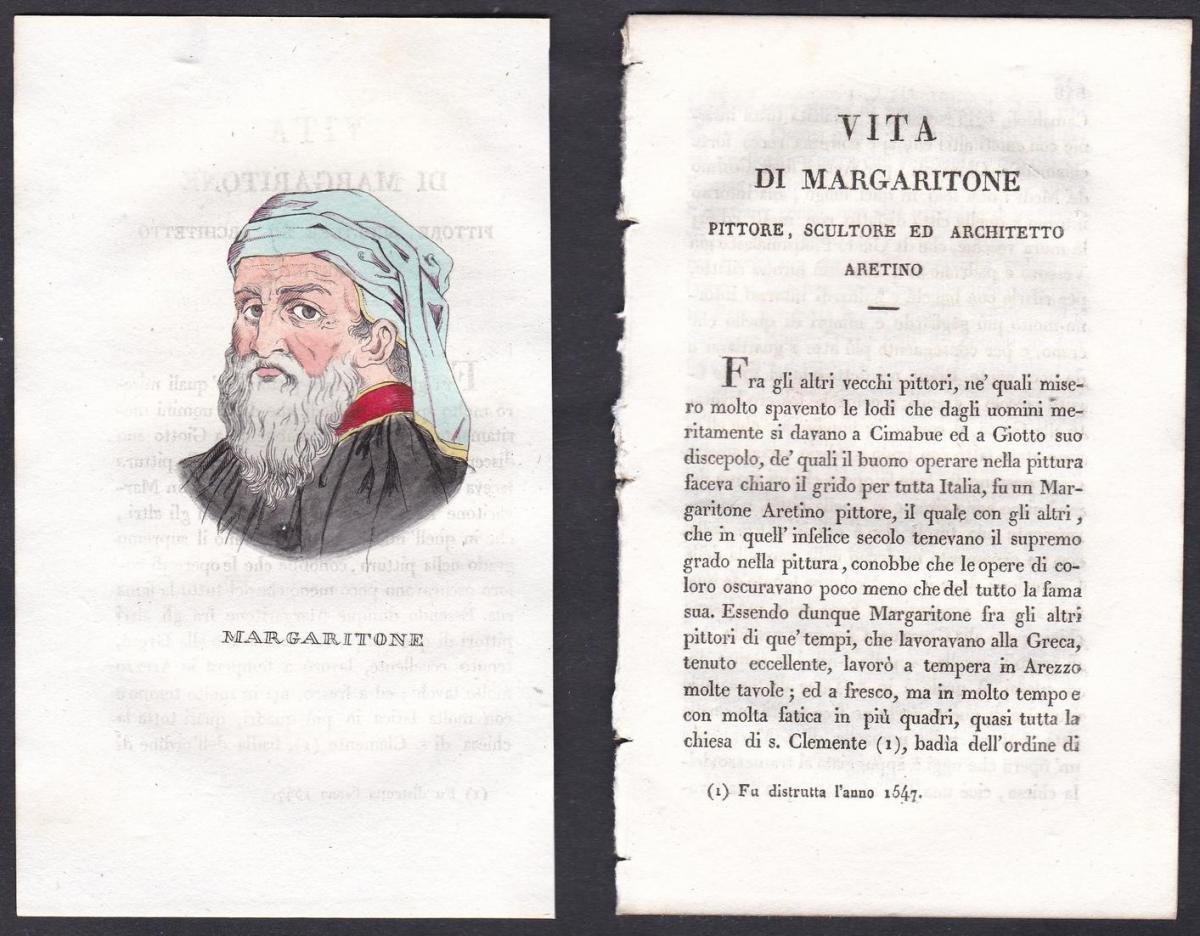 Margaritone - Margaritone d'Arezzo (1240-1290) Maler painter Italien Italia Portrait Kupferstich copper engrav