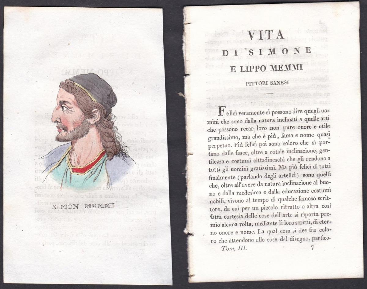 Simon Memmi - Simone Martini (1284-1344) Maler painter Italien Italia Portrait Kupferstich copper engraving an