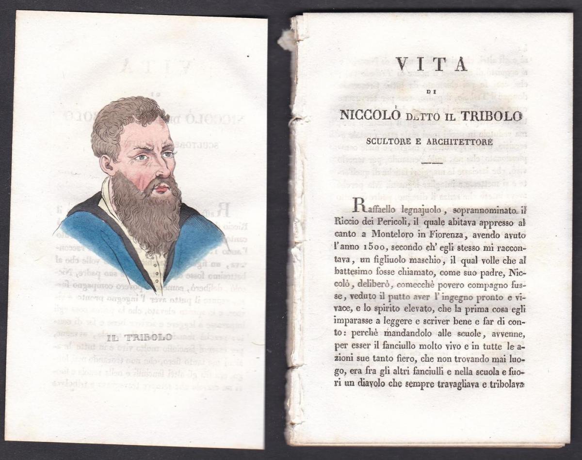 Il Tribolo - Niccolò Tribolo (1500-1550) Architekt architect Italien Italia Portrait Kupferstich copper engrav