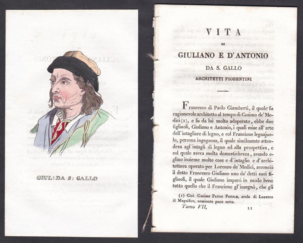 Giul: da S: Gallo - Giuliano da Maiano (1432-1490) Architekt architect Italien Italia Portrait Kupferstich cop