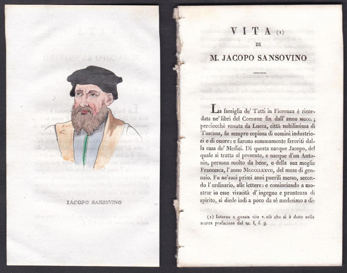 Iacopo Sansovino - Jacopo Sansovino (1486-1570) Bildhauer sculptor Italien Italia Portrait Kupferstich copper