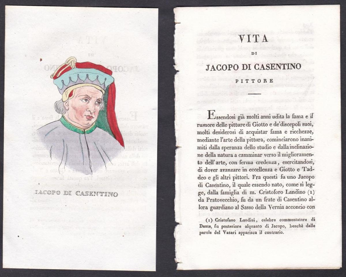Iacopo di Casentino - Jacopo del Casentino (1330-1380) Maler painter Italien Italia Portrait Kupferstich coppe