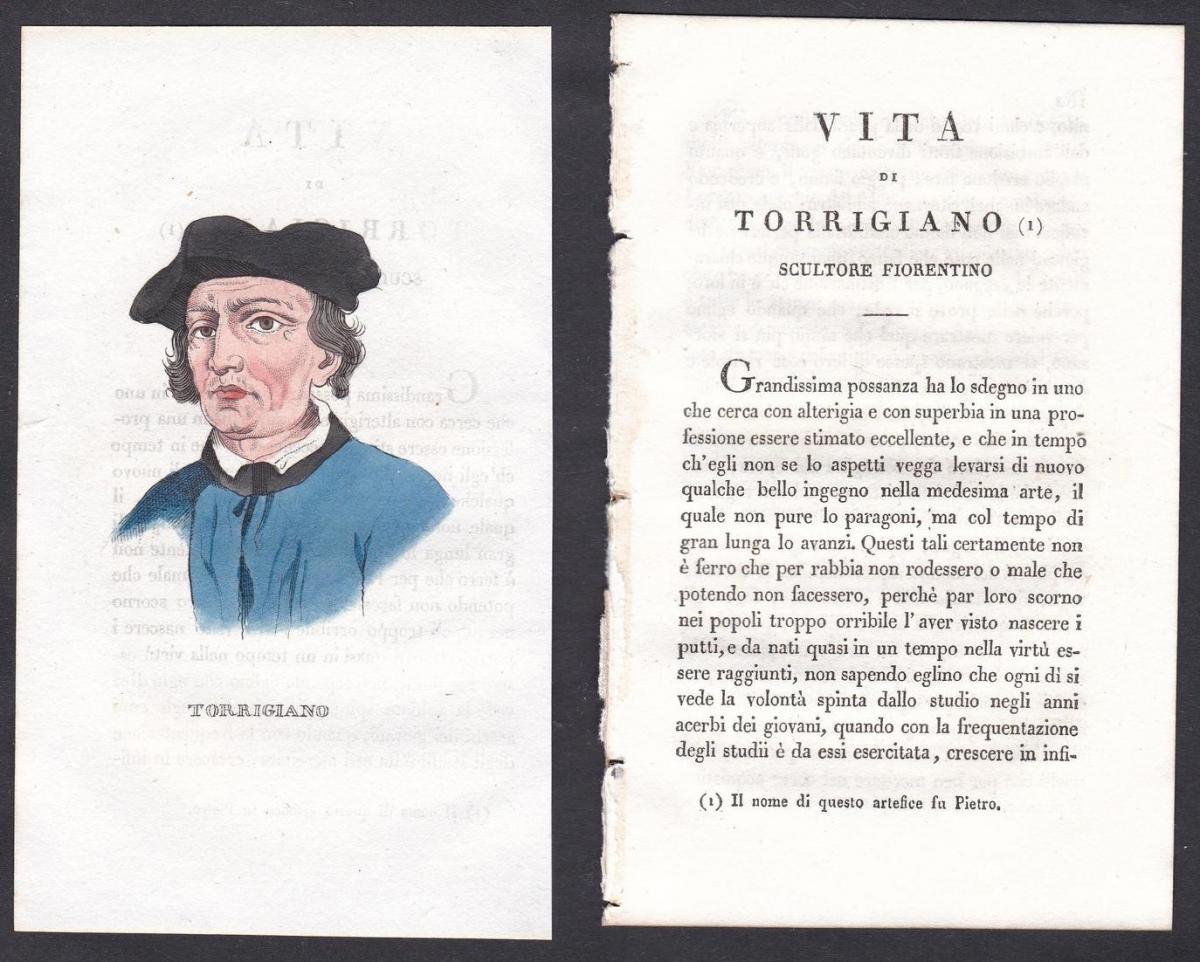 Torrigiano - Pietro Torrigiano (1472-1528) Bildhauer sculptor Italien Italia Portrait Kupferstich copper engra