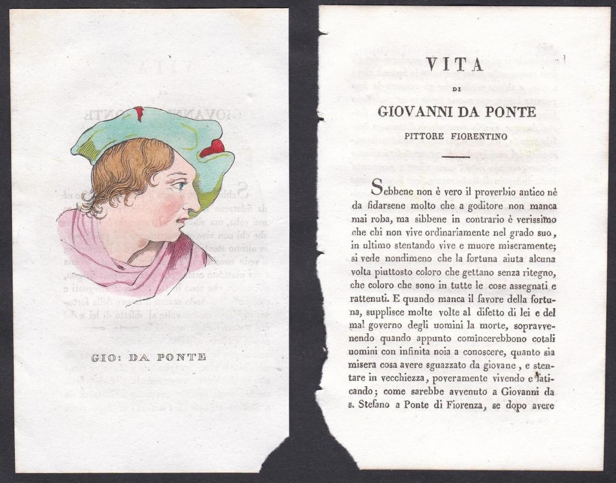 Gio: da Ponte - Giovanni del Ponte (1385-1437) Maler painter Italien Italia Portrait Kupferstich copper engrav