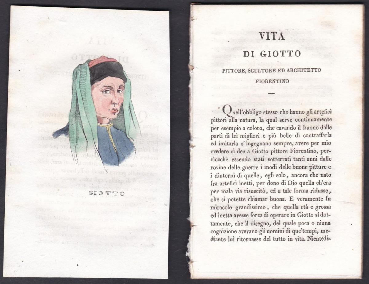 Giotto - Giotto di Bondone (1267 oder 1276-1337) Maler painter Italien Italia Portrait Kupferstich copper engr