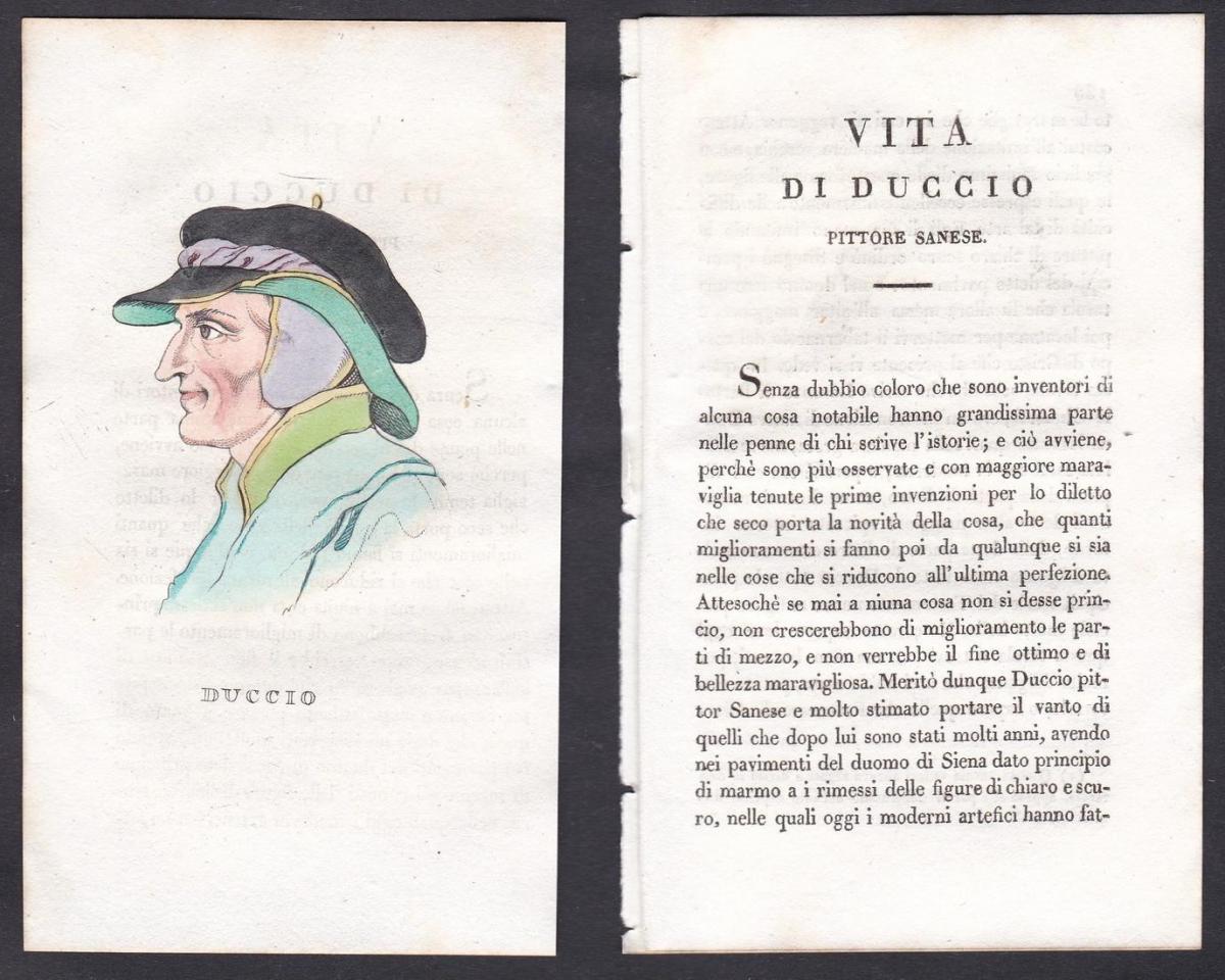 Duccio - Duccio di Buoninsegna (um 1255-1319) Maler painter Italien Italia Portrait Kupferstich copper engravi