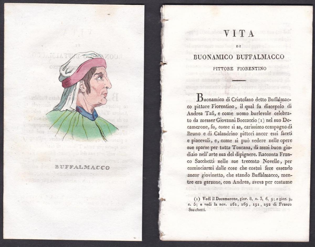 Buffalmacco - Buonamico Buffalmacco (1262-1340) Maler painter Italien Italia Portrait Kupferstich copper engra