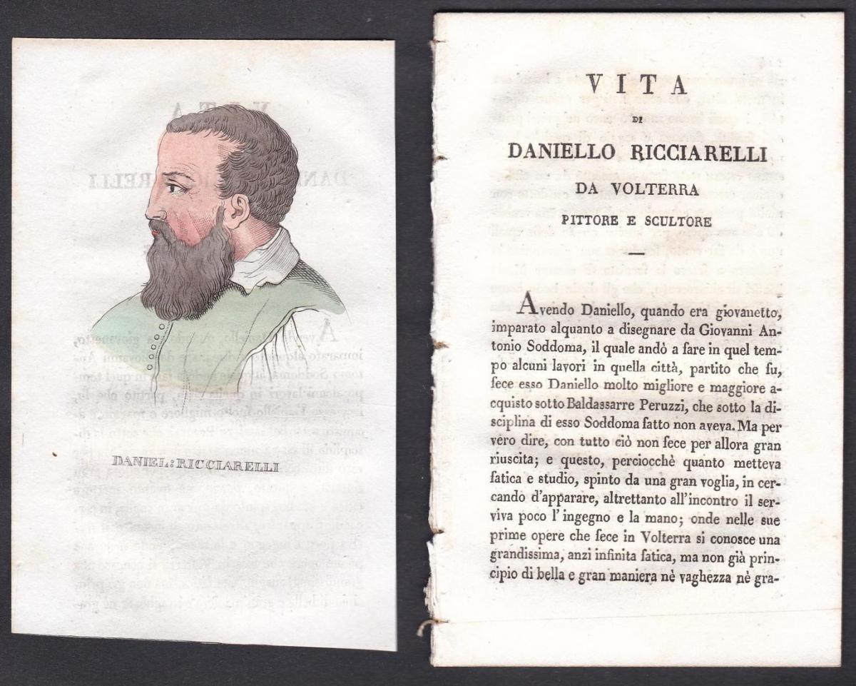 Daniel: Ricciarelli - Daniele da Volterra (1509-1566) Maler painter Italien Italia Portrait Kupferstich copper
