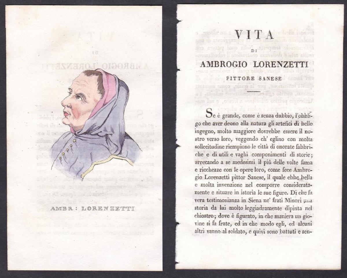 Ambr: Lorenzetti - Ambrogio Lorenzetti (1290-1348) Maler painter Italien Italia Portrait Kupferstich copper en