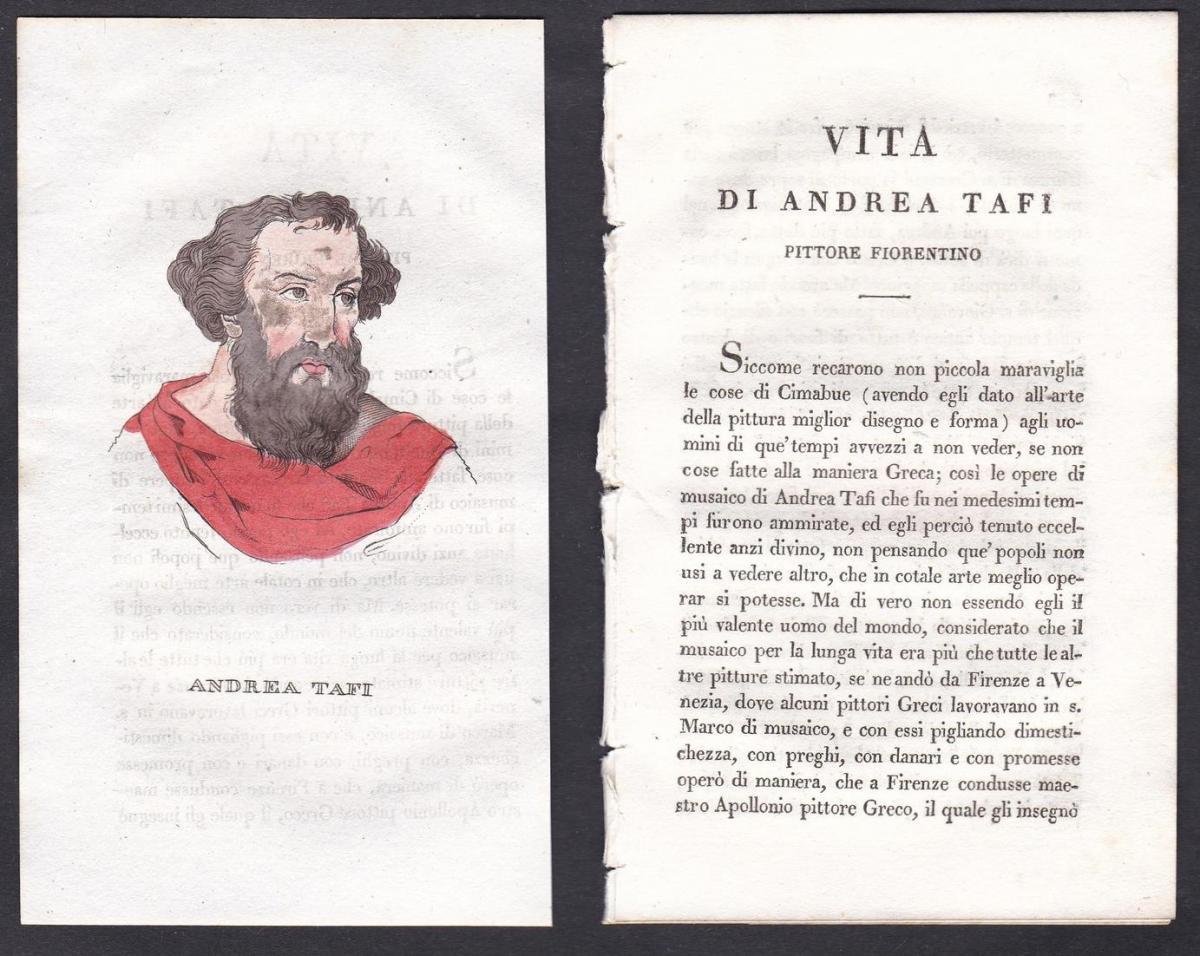 Andrea Tafi - Andrea Tafi Künstler artist Italien Italia Portrait Kupferstich copper engraving antique print