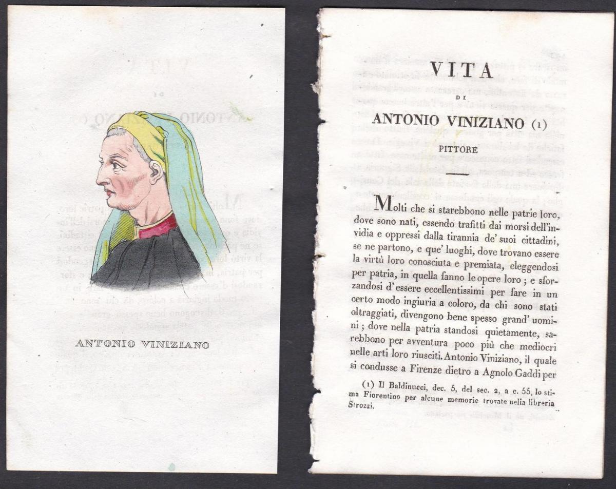 Antonio Viniziano - Antonio Veneziano Maler painter Italien Italia Portrait Kupferstich copper engraving antiq