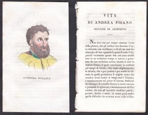 Andrea Pisano - Andrea Pisano (1290-1348) Bildhauer sculptor Italien Italia Portrait Kupferstich copper engrav
