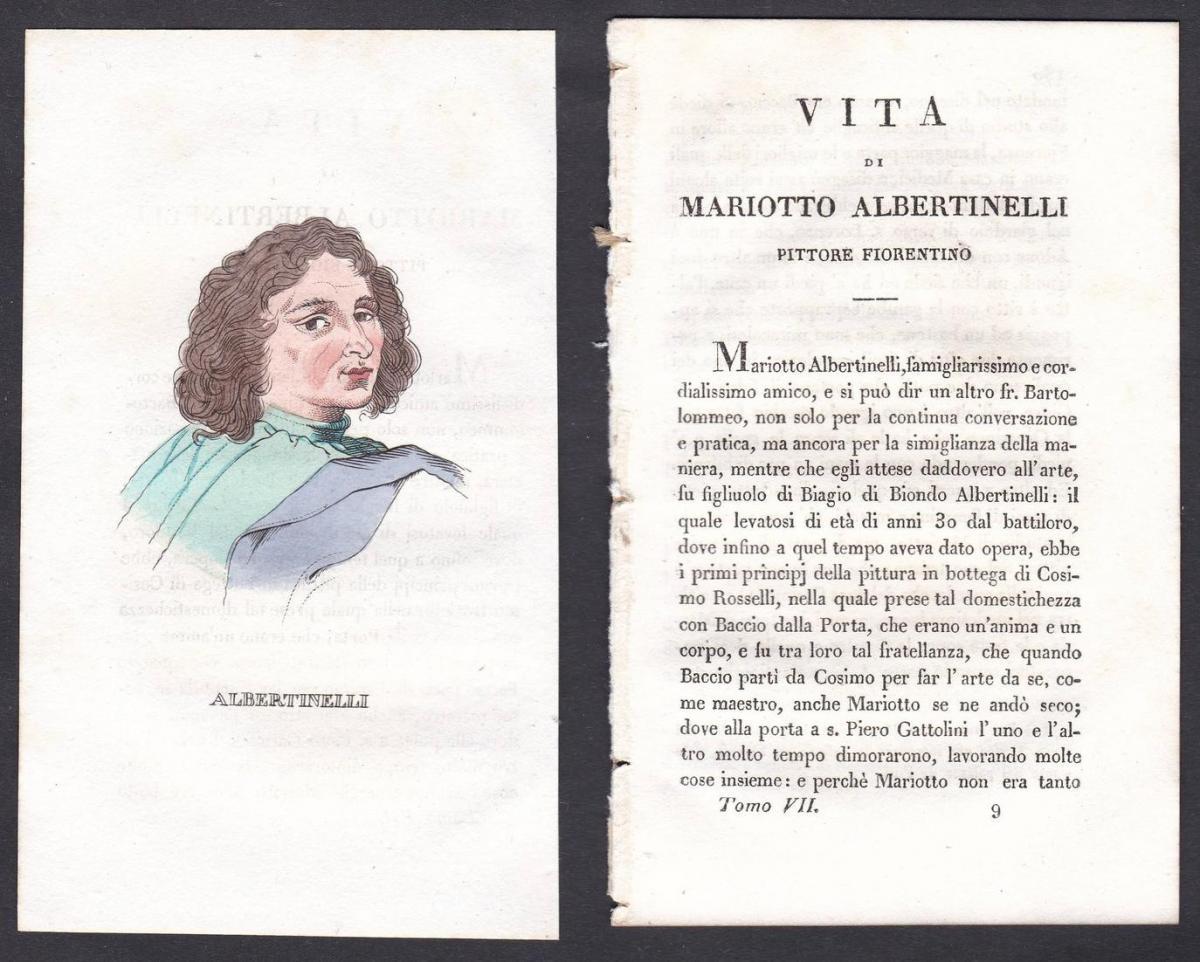 Albertinelli - Mariotto Albertinelli (1474-1515) Maler painter Italien Italia Portrait Kupferstich copper engr
