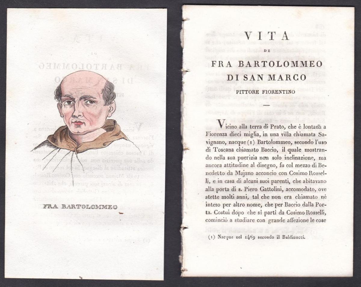 Fra Bartolommeo - Fra Bartolommeo (1472-1517) Maler painter Italien Italia Portrait Kupferstich copper engravi