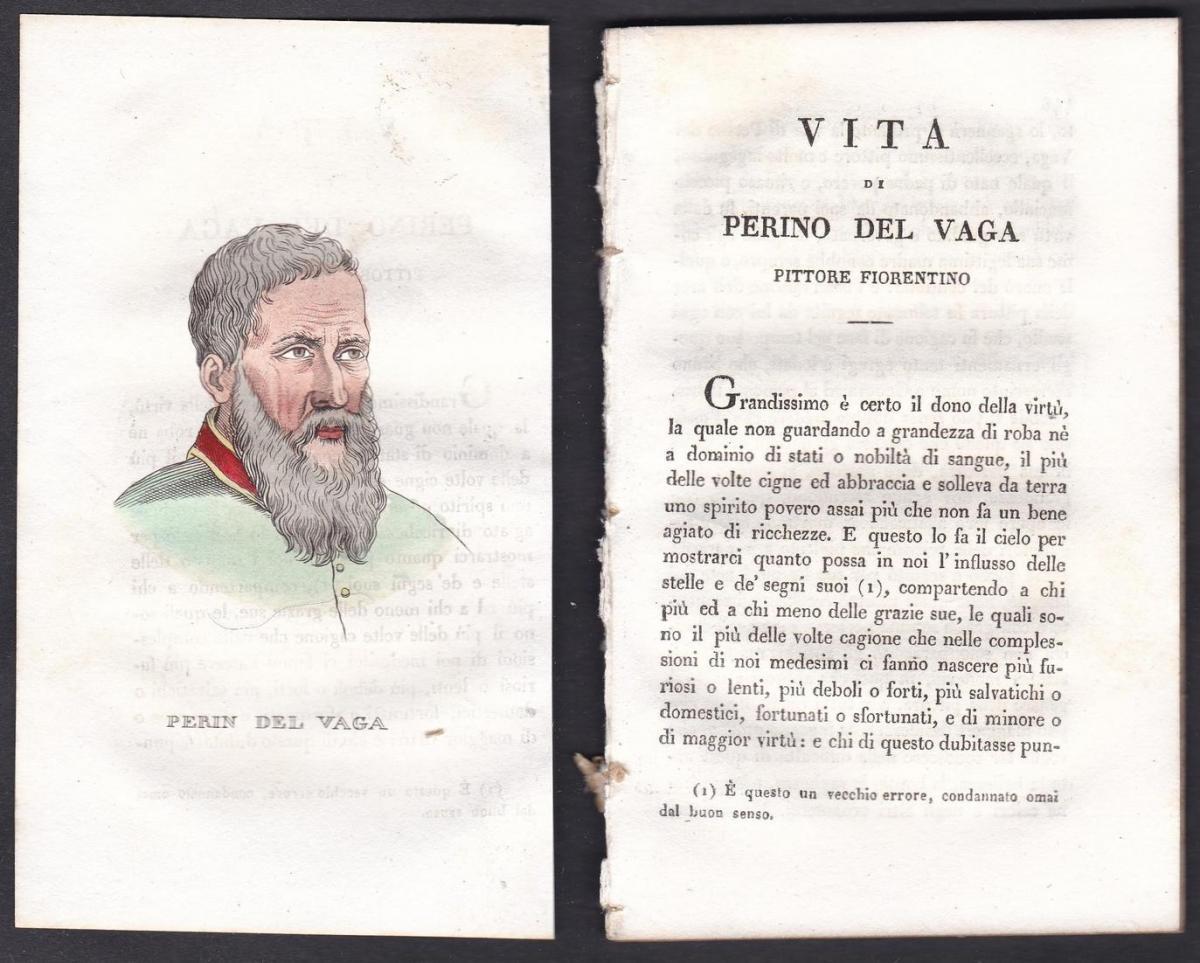 Perin del Vaga - Perino del Vaga (1501-1547) Maler painter Italien Italia Portrait Kupferstich copper engravin