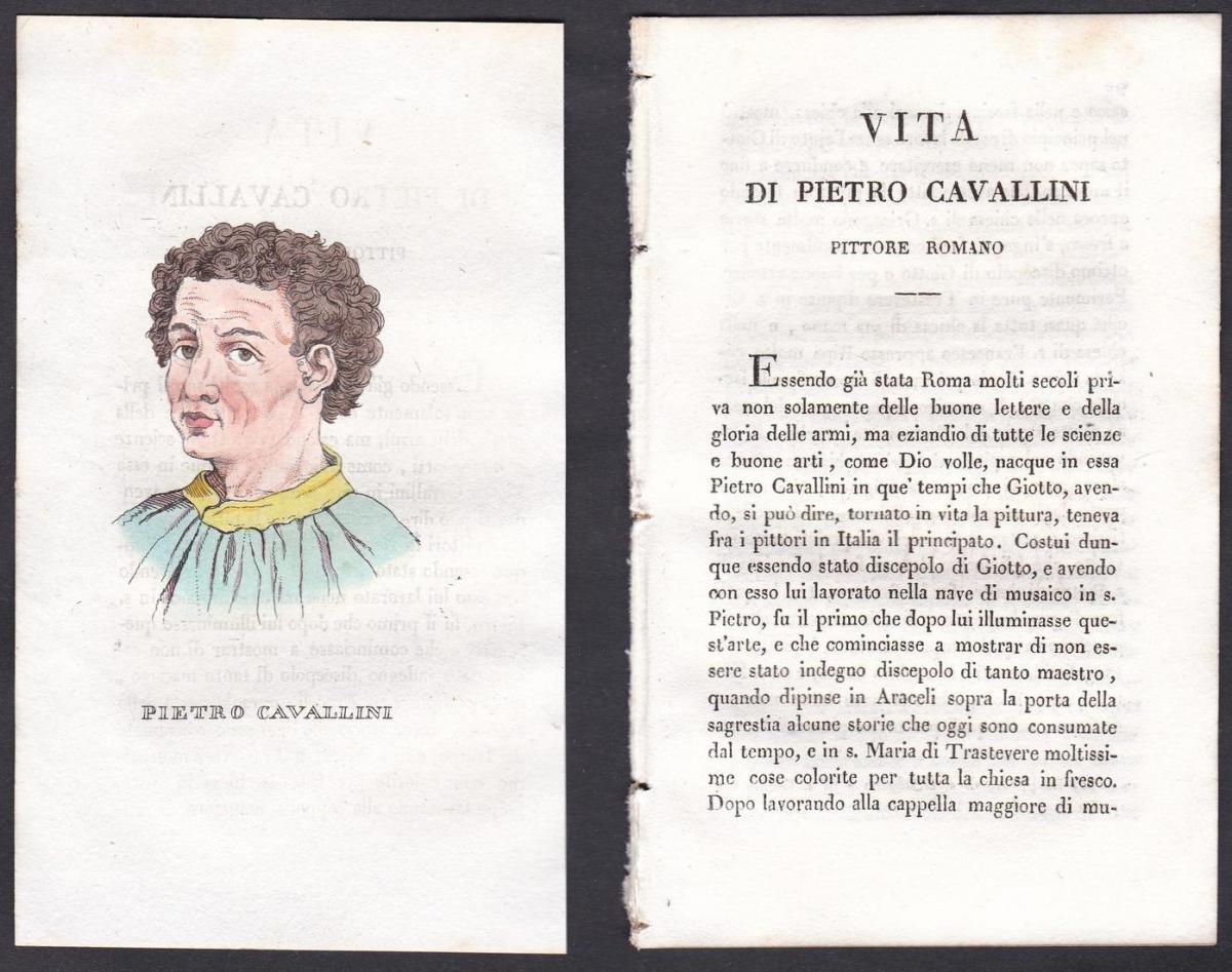 Pietro Cavallini - Pietro Cavallini (1250-1330) Maler painter Italien Italia Portrait Kupferstich copper engra