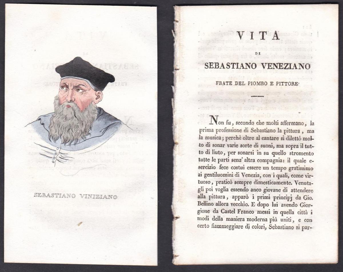 Sebastiano Viniziano - Sebastiano del Piombo (1485-1547) Maler painter Italien Italia Portrait Kupferstich cop