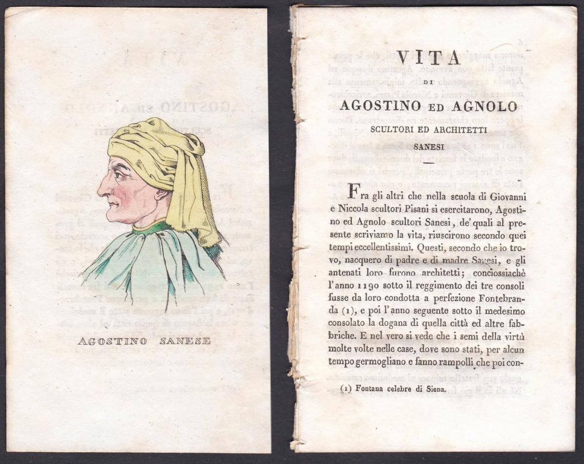 Agostino Sanese - Agnolo di Ventura (1290-1349) Architekt architect Italien Italia Portrait Kupferstich copper