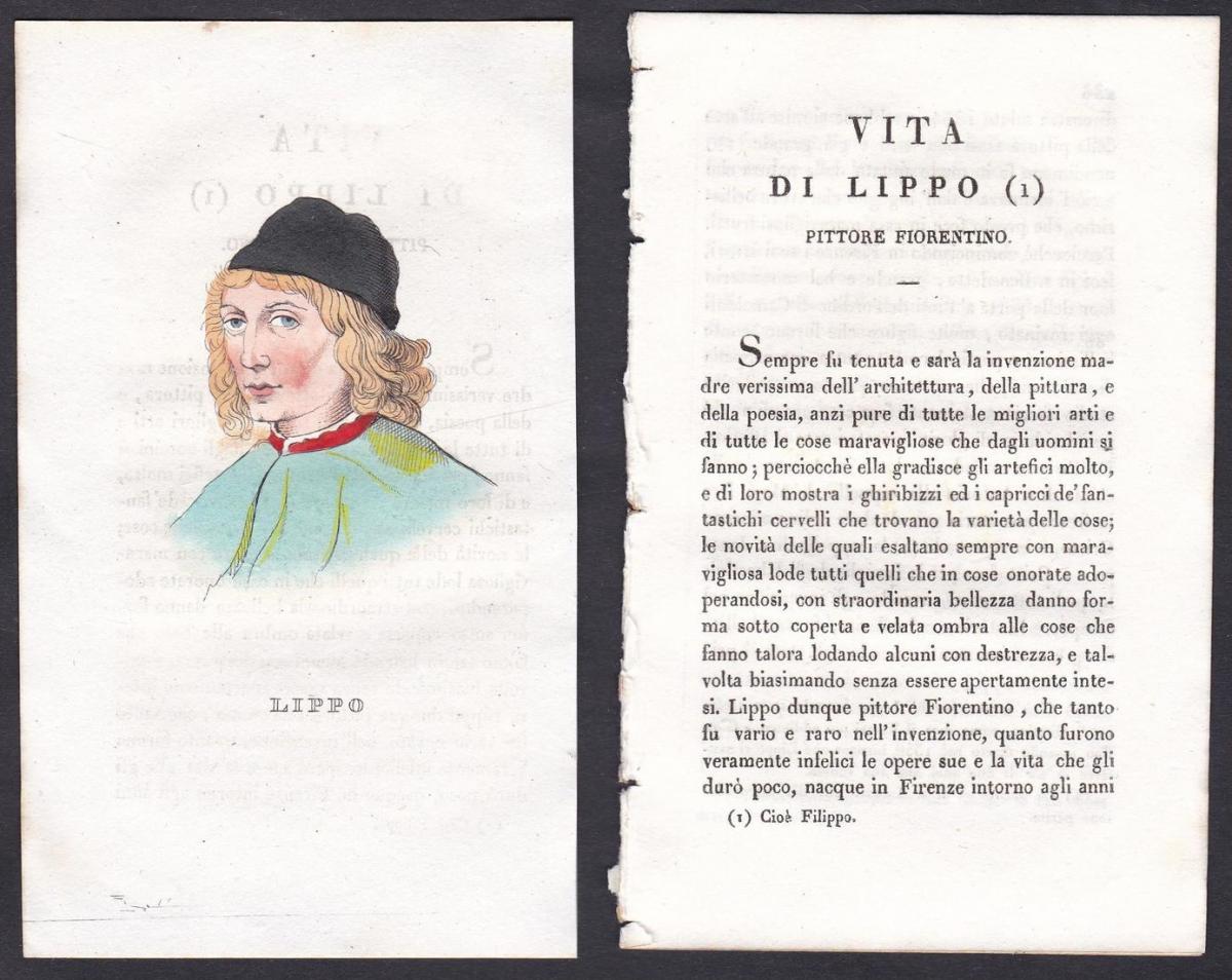 Gaddo Gaddi - Lippo Memmi (1291-1356) Maler painter Italien Italia Portrait Kupferstich copper engraving antiq