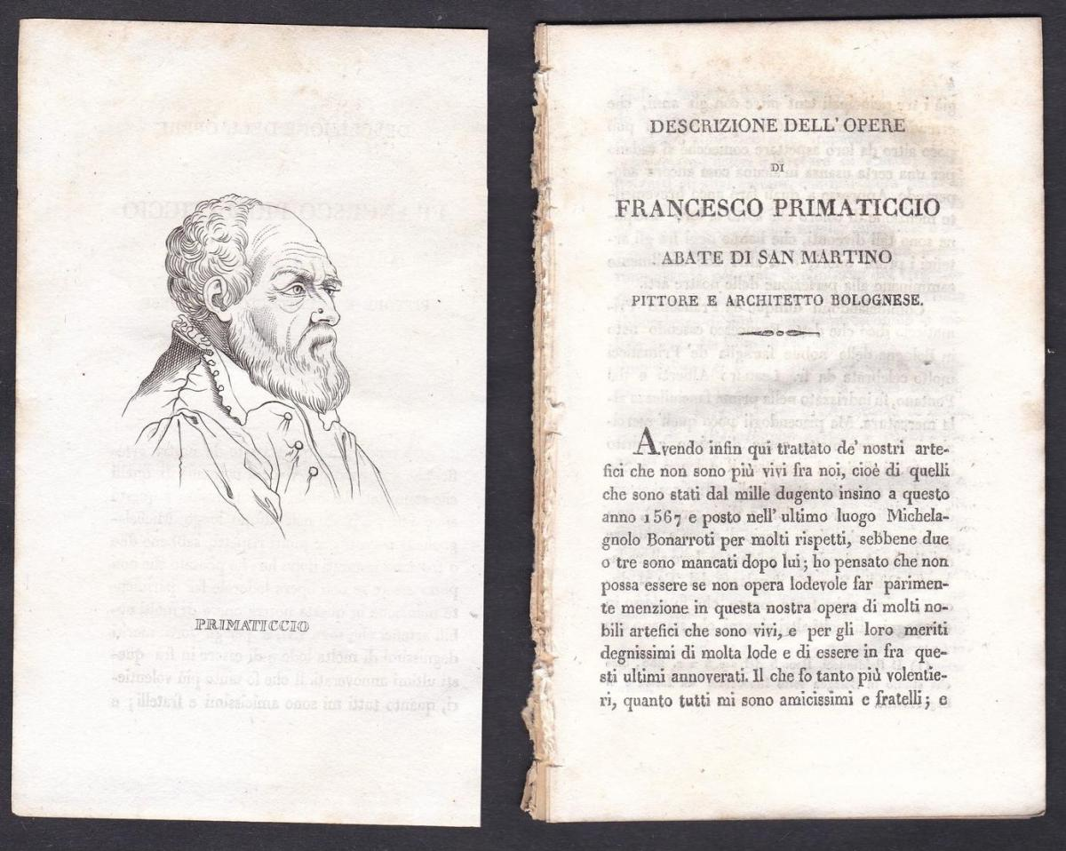 Primaticcio - Francesco Primaticcio (1488-1576) Künstler artist Italien Italia Portrait Kupferstich copper eng