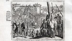 Antonii vergebliche Belagerung von Praaspa - Marcus Antonius Phraaspa Belagerung siege Kupferstich antique pri