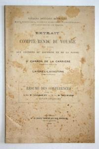 Extrait Du Compte Rendu Du Voyage Aux Stations Du Dauphine Et De La Savoie. Resume Des Conferences Faites Par